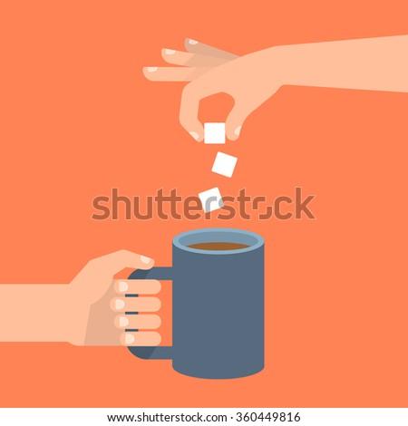 One Hand Holds Coffee Cup Other Stock Vektorgrafik Lizenzfrei