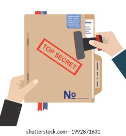 One hand holds report, other hand stamped big stamp - top secret on folder. Politicians or secret service keep files and important documents secret. Data protection concept. Flat vector illustration