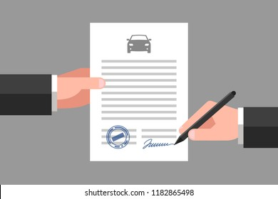 One hand is keeping a document, and another hand is keeping a pen. Car icon above the text. Signing of contract. Vehicle business and insurance