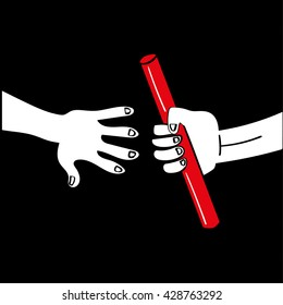One hand passing a relay race baton to another hand reaching out to accept it as a teamwork concept
