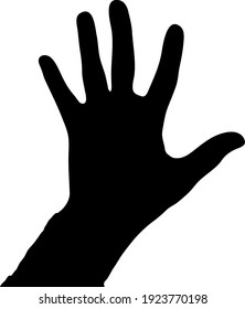 one hand reaches to the top on a white background