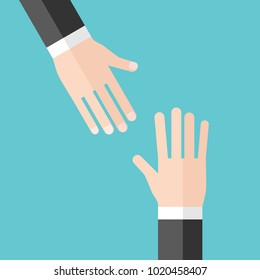 One hand reaching upwards to another. Support, help, problem and solution concept. Flat design. Vector illustration, no transparency, no gradients