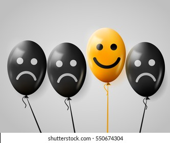 One happy face in crowd of sad. Happy and sad balloons. Positive mood concept. Lifestyle. Vector illustration