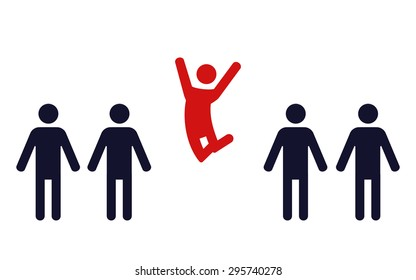 one happy jumping human figure in a row of identical standing men- vector illustration