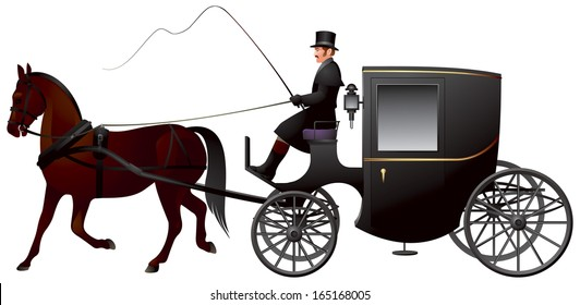 One Horse Brougham Cab, a light four-wheeled horse-drawn carriage, popular 19th century London taxi cab
