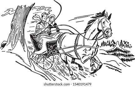 One Horse Open Sleigh - Fun Christmas  ride through the snow
