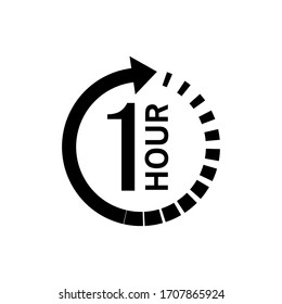 One hour arrow icon on white background. Stock vector