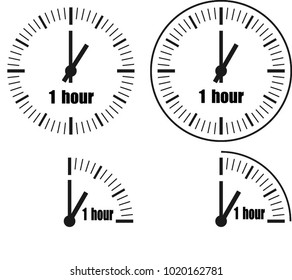One hour Clock on white background. Four options.