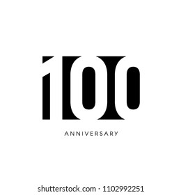 One hundred anniversary, minimalistic logo. One hundredth years, 100th jubilee, greeting card. Birthday invitation. 100 year sign. Black negative space vector illustration on white background