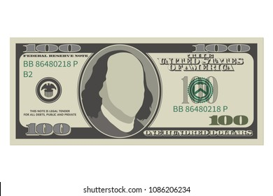 One hundred dollar bill. 100 dollars banknote. Vector illustration isolated on white background