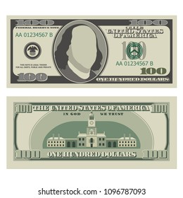 One hundred dollar bill. 100 dollars banknote, front and reverse side. Vector illustration isolated on white background