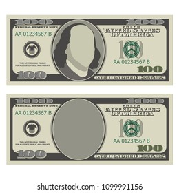 One hundred dollar bill design template. 100 dollars banknote, front side with and without president Franklin. Vector illustration isolated on white background