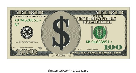 One hundred dollar bill. High quality, detailed american banknote. Isolated vector illustration on white background.