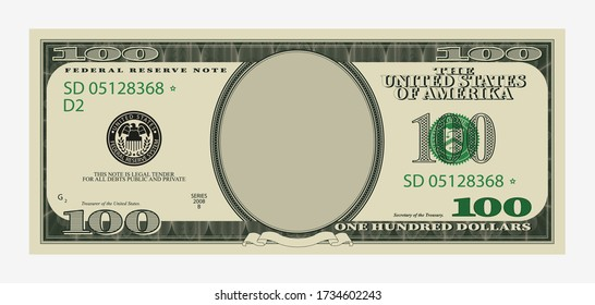 One hundred dollars bill template. American banknote with empty portrait center paper money economic investment vector template for inserting your face drawing.