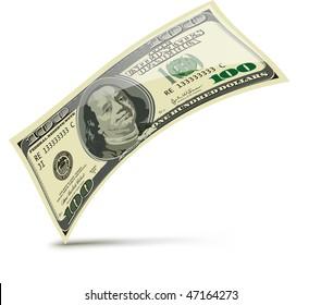 One hundred dollars. Vector illustration isolated on white background