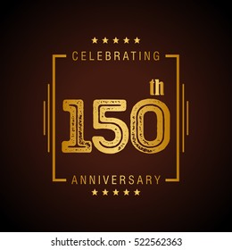 One Hundred and Fifty anniversary celebration logotype. 150th anniversary logo collection. Anniversary label. Anniversary logo template. Anniversary sign. Vector Illustration