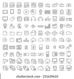 One hundred linear icons of electronics and digital devices for infographics and application interface.