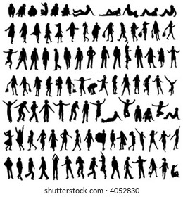 one hundred male and female silhouettes