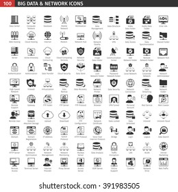 One Hundred Network And Database Black Icons Set.