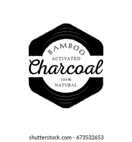 one hundred percent bamboo activated charcoal guarantee logo with black  hexagonal round corner