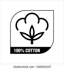 One Hundred Percent Cotton Icon, 100% Cotton Flower Icon, Ball, Fiber Vector Art Illustration