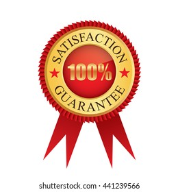 One hundred percent satisfaction guarantee gold badge icon logo vector graphic design
