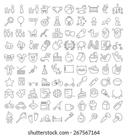 One hundred thin line baby icons. includes toys, healthcare, food, goods, equipment, leisure, recreation, entertainment, animals, people, objects and many other for web design and infographics.