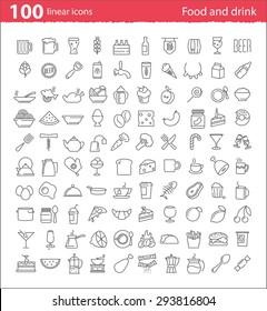 100개의 얇은 선 음식과 음료 아이콘(인쇄 또는 웹 디자인 및 인포그래픽)