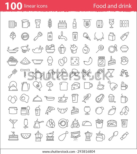 One hundred thin line food and drink icons for print or web design and infographics