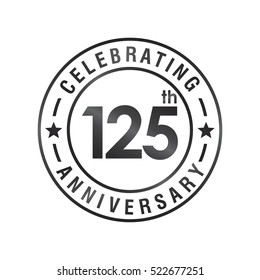 One Hundred and Twenty Five anniversary celebration logotype. 125th anniversary logo collection. Anniversary label. Anniversary logo template. Anniversary sign. Vector Illustration