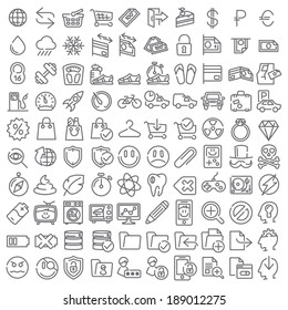 One hundred vector icons set for web design and user interface. Bundle #001