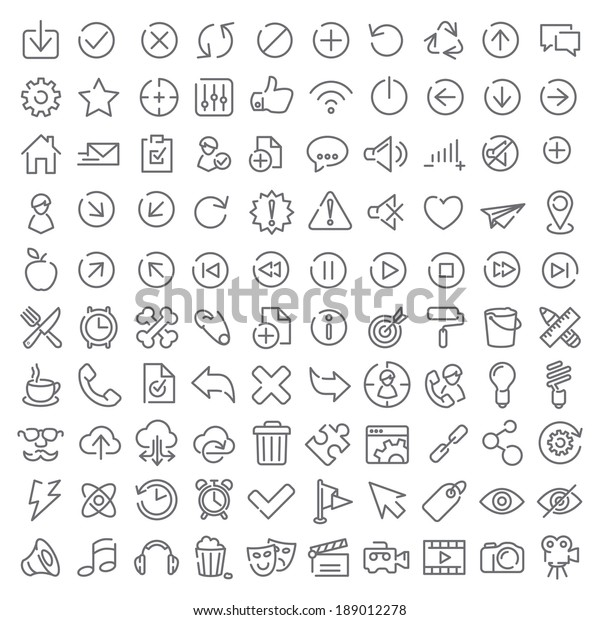 One hundred vector icons set for web design and user interface