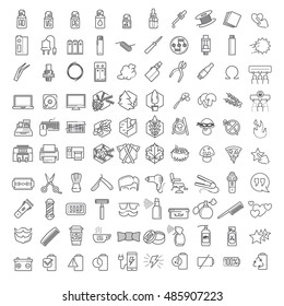 One hundred Vector thin line icons set for infographics and UX UI kit. Contains barber shop, technology & computers, ecology and forest, vapor and smoking themes&
