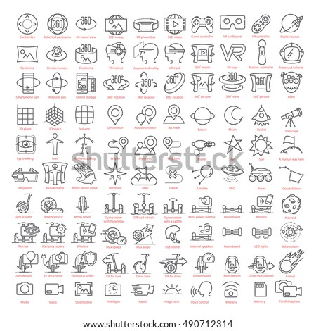 One hundred vector thin line  icons set. Contains: 3d an virtual reality, augmented reality and navigation, gyro scooters and hoverboards, space and more for UX UI prototypes