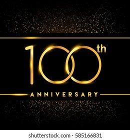 one hundred years anniversary celebration logotype. 100th anniversary logo with confetti golden colored isolated on black background, vector design for greeting card and invitation card.