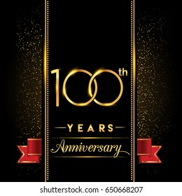 one hundred years anniversary celebration logotype. 100th anniversary logo with confetti golden colored and red ribbon isolated on black background, vector design for greeting card and invitation card