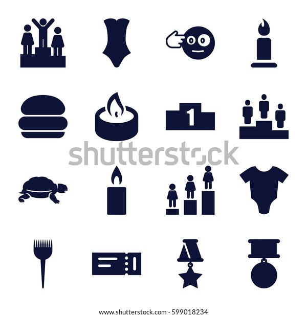 one icons set. Set of 16 one filled icons such as turtle, ticket, baby onesie, barber brush, candle, swimsuit, ranking, head bang emot, medal