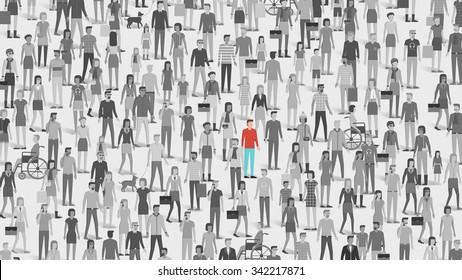 One individual standing out of the crowd, individuality, choice and free thought concept
