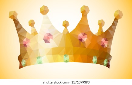 One isolated polygonal king's golden crown with red and green jewel gem stones. Modern triangle geometric style. Vector icon or banner illustration.