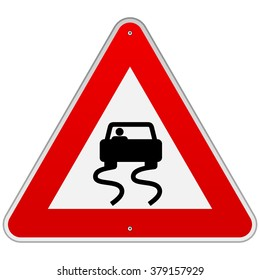 One isolated triangular red and white warning sign with simple car swerving as symbol for slippery road