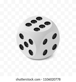 One isometric craps game dice, matte photo realistic material, 3d render with soft shadows and reflections, vector rounded cube illustration isolated on white transparent background
