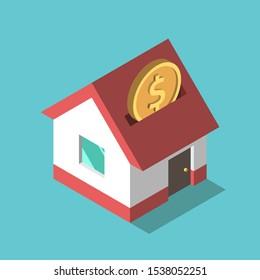 Eine isometrische Goldmünze fällt auf türkisblauem Blau in das Haus-Sparschwein. Investitions-, Sparungs-, Traum-, Zahlungs- und Vermögenskonzept. Flaches Design. Vektorgrafik, keine Transparenz, keine Farbverläufe