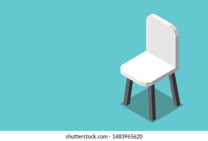 One  isometric modern white chair on turquoise blue background. Job, hiring, vacancy, employment and career concept. Flat design. EPS 8 vector illustration, no transparency, no gradients