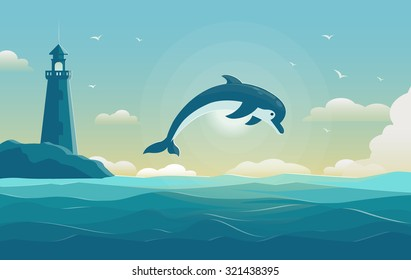 One jumping dolphin, blue sea background with waves and lighthouse. Vector Illustration