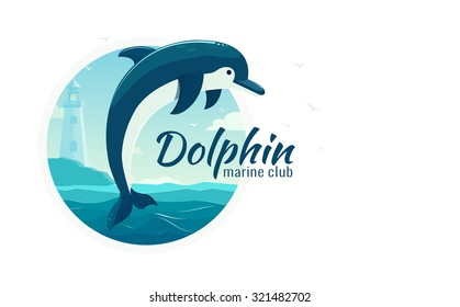 One jumping dolphin, blue sea background with waves and lighthouse.  Vector Illustration, banner, icon.
