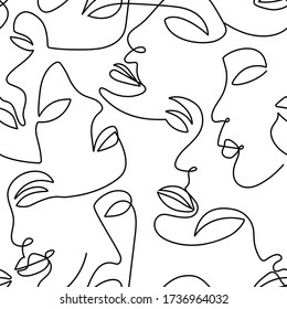 One line abstract  face contours seamless pattern