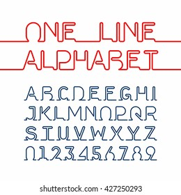 One line alphabet and numbers. One single continuous line font. Vector illustration.
