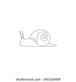 One Line Animals Minimalistic Icon. Line drawing snail tattoo. Beetles one line hand drawing continuous art print, Vector Illustration. Free single line drawing of snail beetle Logo