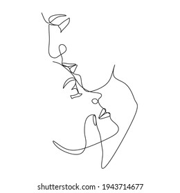 One Line Art Couple, Line Art Men and woman, Minimal Face Vector.  Couple print, Kiss print, Valentines Day Illustration. Love poster. 2 faces. We are one line.