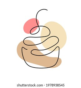 One line art of cupcake with cherry. Hand drawn logo. Cafe and bakery concept. Vector illustration isolated on white background.
